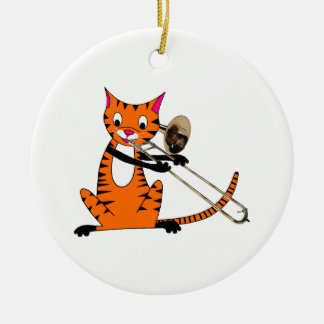 Tiger Playing the Trombone Christmas Ornament