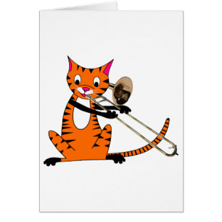 Tiger Playing the Trombone Greeting Card