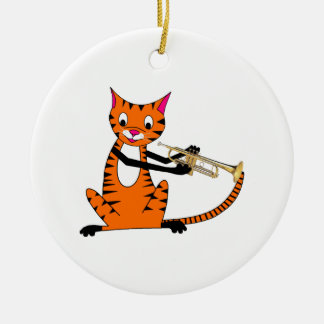 Tiger Playing the Trumpet Round Ceramic Decoration