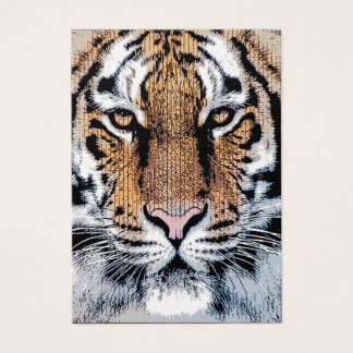 Tiger Portrait in Graphic Press Style Business Card