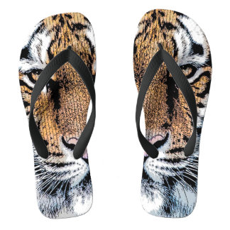 Tiger Portrait in Graphic Press Style Flip Flops
