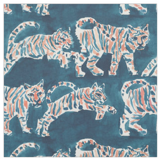 TIGER POUNCE Boho Chic Safari Watercolor Pattern Fabric