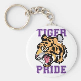 Tiger Pride Basic Round Button Key Ring