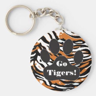 Tiger Print and Paw Basic Round Button Key Ring