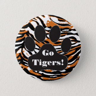 Tiger Print and Paw-School Spirit 6 Cm Round Badge