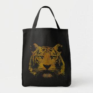 Tiger Print Dark Grocery Tote Bag