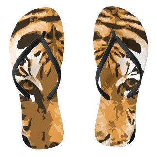 Tiger print flip flops