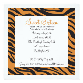 Tiger Print Girls Sixteenth Birthday Invite