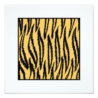 Tiger Print. Orange and Black Pattern. 13 Cm X 13 Cm Square Invitation Card