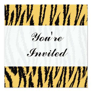 Tiger Print Pattern. Orange and Black. 13 Cm X 13 Cm Square Invitation Card