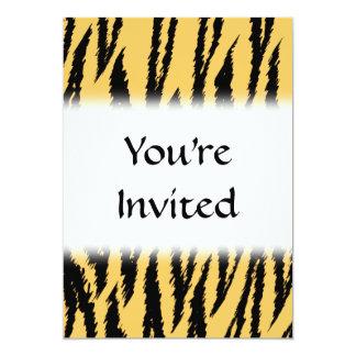 Tiger Print Pattern. Orange and Black. 13 Cm X 18 Cm Invitation Card