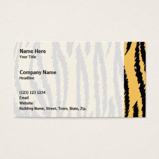 Tiger Print Pattern. Orange and Black. Business Card