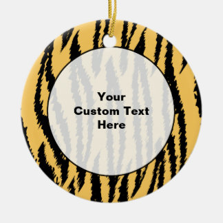 Tiger Print Pattern. Orange and Black. Christmas Ornament