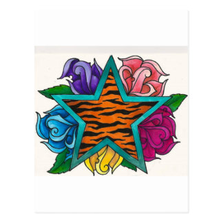 Tiger Print Star with Roses Post Cards