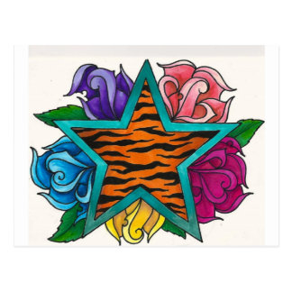 Tiger Print Star with Roses Postcard