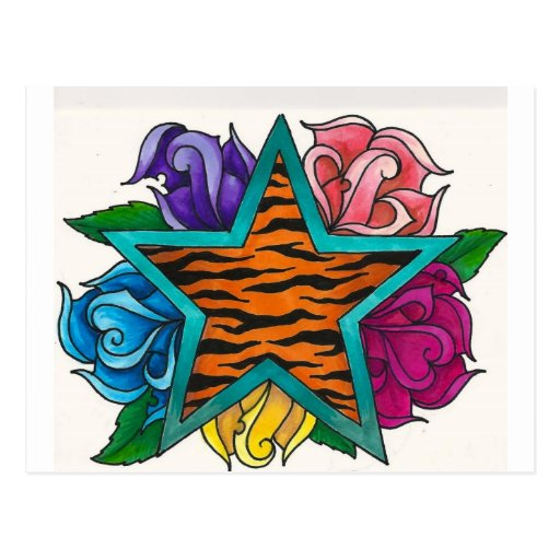 Tiger Print Star with Roses Postcards