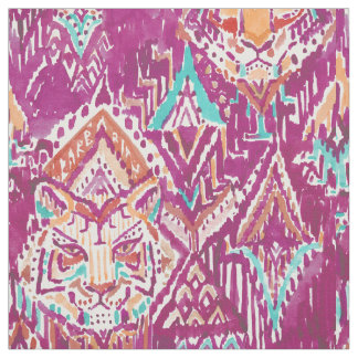 Tiger Prowess Tribal Watercolor Fuchsia Fabric