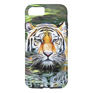 Tiger Reflection Digital Art Cell Phone Case