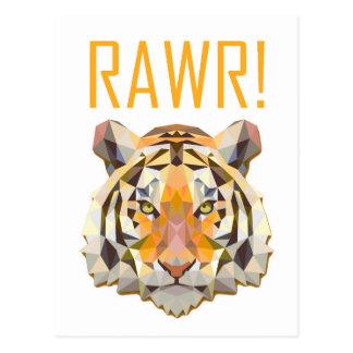 Tiger Roar Rawr Animal Cat Fun Postcard