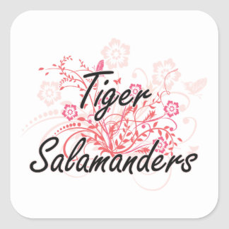 Tiger Salamanders with flowers background Square Sticker