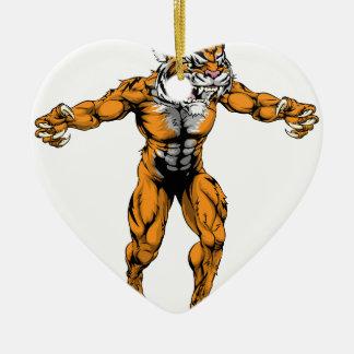 Tiger scary sports mascot christmas tree ornaments