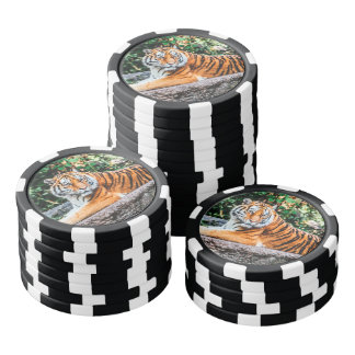Tiger Set Of Poker Chips
