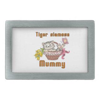 Tiger siamese Cat Mom Belt Buckles
