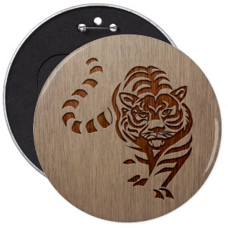 Tiger silhouette engraved on wood design 6 cm round badge