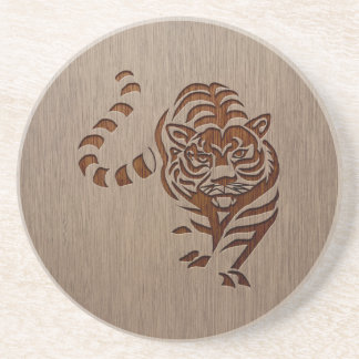 Tiger silhouette engraved on wood design drink coaster