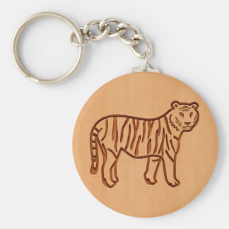 Tiger silhouette engraved on wood design key ring