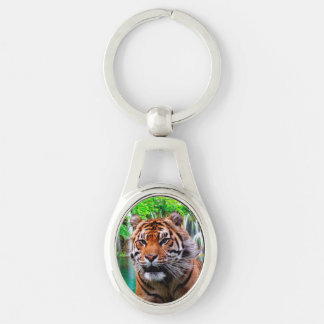 Tiger Silver-Colored Keychain Silver-Colored Oval Keychain