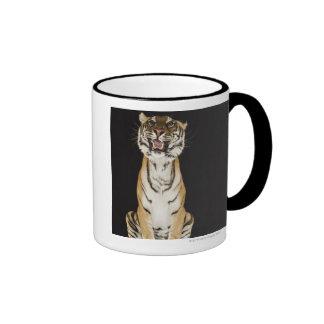 Tiger sitting on platform coffee mugs