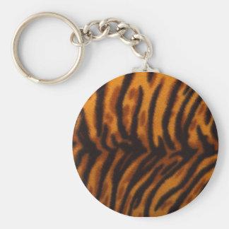 Tiger Skin Basic Round Button Key Ring