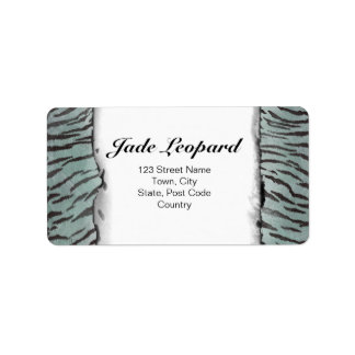 Tiger Skin Print in Minty Jade Address Label