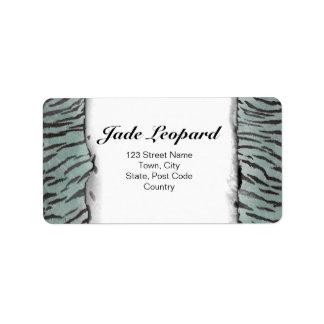 Tiger Skin Print in Minty Jade Label