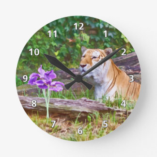 Tiger Smelling the Flowers Wallclocks