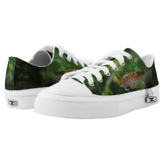 Tiger Spirit on Jungle Background Printed Shoes