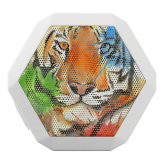 Tiger Splatter White Bluetooth Speaker