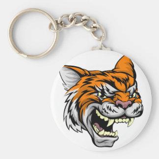 Tiger Sports Mascot Basic Round Button Key Ring