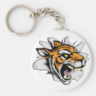 Tiger sports mascot breaking out key chain