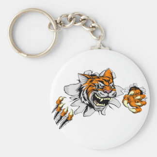 Tiger sports mascot ripping through wall basic round button key ring