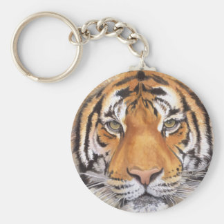 """Tiger Spot"" on White, Watercolor Art Basic Round Button Key Ring"