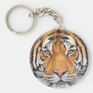 """Tiger Spot"" on White, Watercolor Art Key Ring"