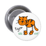 Tiger Stick Figure Button