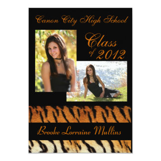 Tiger stripe animal print graduation announcement