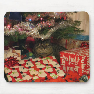 Tiger striped cat under Christmas Tree Mouse Pad