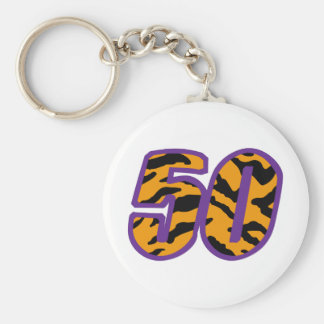 TIGER STRIPED FIFTY BASIC ROUND BUTTON KEY RING