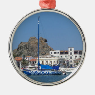 Tiger Striped Yacht Christmas Ornament