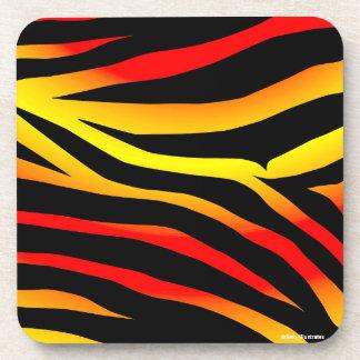 Tiger Stripes Animal Print Plastic Coaster Set