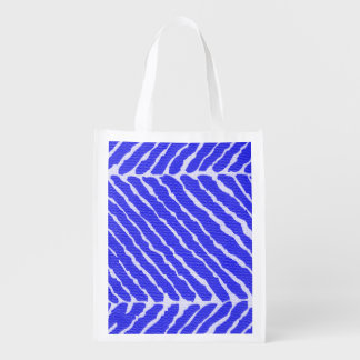Tiger Stripes Cobalt Blue Canvas Look Grocery Bags